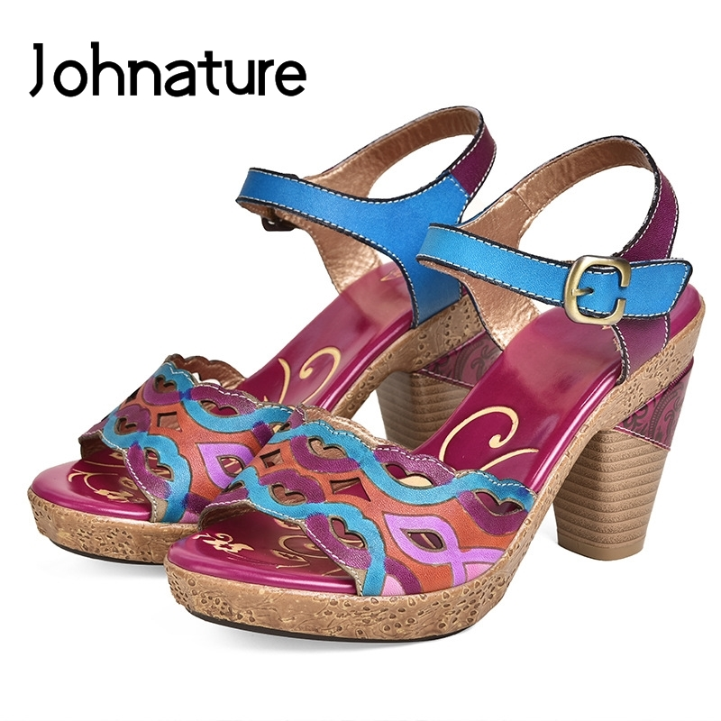 Johnature Genuine Leather 2019 New Summer Sandals Ankle wrap Casual Buckle Strap Hand painted Retro Super