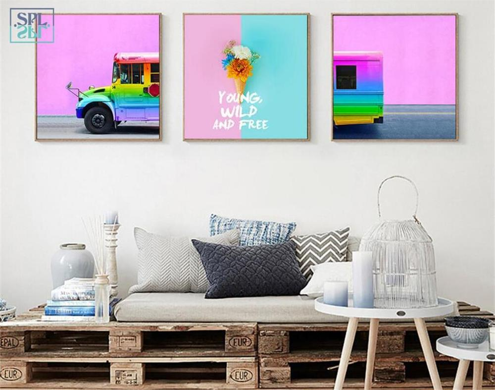 Splspl Pelangi Es Krim Truk Lukisan Dekoratif Bunga Pemandangan Kanvas Seni Cetak Gambar Dinding Untuk Ruang Dapur Tanpa Bingkai
