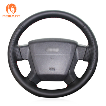 MEWANT Black Genuine Leather Hand Sew Anti-slip Car Steering Wheel Cover for Jeep Compass 2006-2010 Old Patriot 2007-2010