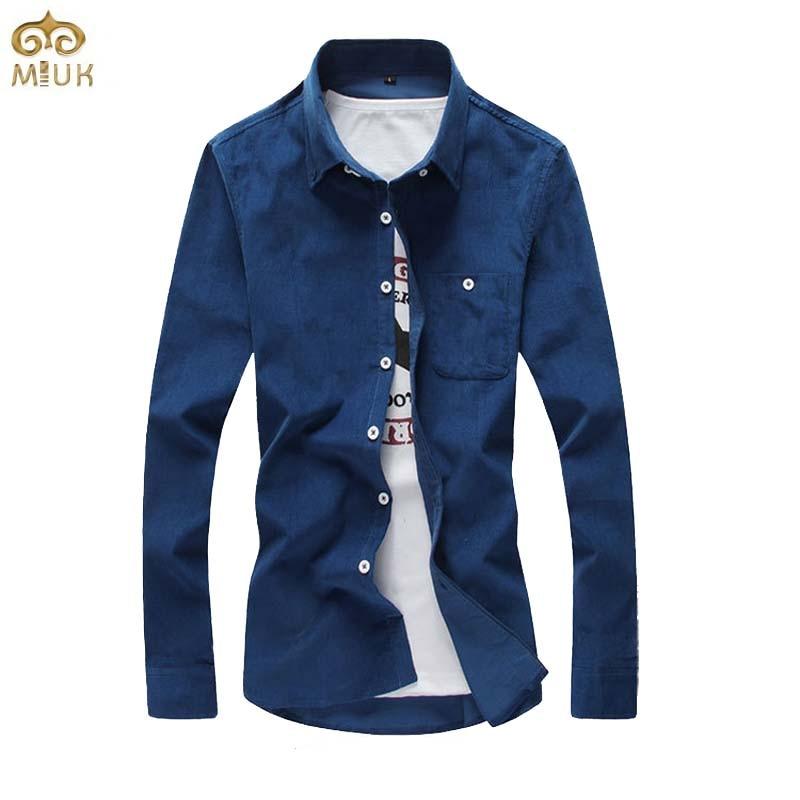 263aa3a4ff Miuk 2017 corduroy camisa dos homens tamanho grande m ~ 5xl marca camisa  masculina social clothing 6 cores preto vermelho longo manga chemise homme  em ...