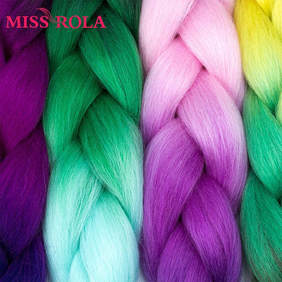 Miss Rola 24 pulgadas Jumbo trenzado extensiones de cabello sintético 1 tono 100g fibra de alta temperatura Crochet trenzado cabello 29 colores