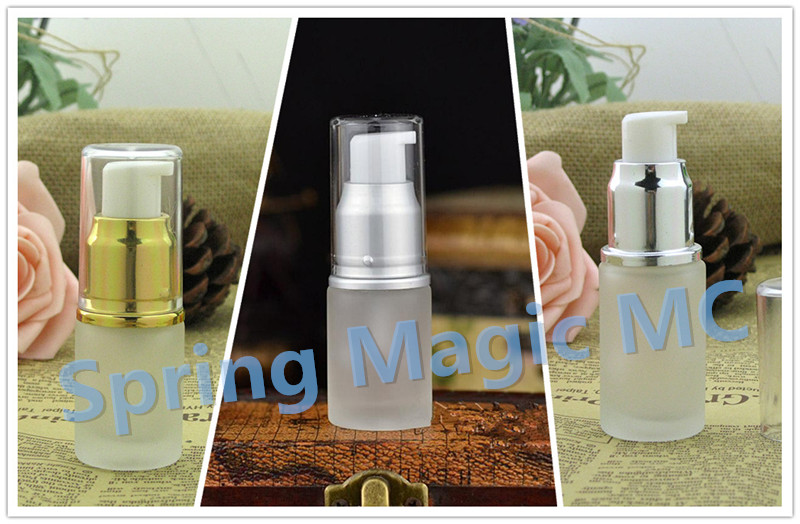 15ML Frosted Glass Bottle Gold Matt Silver Press Pump Essence Bottle Cosmetic Containers Portable Travel Skin