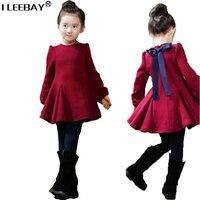 Yeni Varış Sıcak Sonbahar & Kış Pamuk Kız Kore Elbise Sevimli Yay Tam Kollu Kadife Pilili Elbise Kız Kalın Giysiler Vestidos