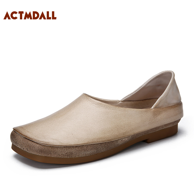 ACTMDALL Original Literary Retro Women Flat Shoes Soft Bottom Loafers Square Toe Leather Baotou Female Slippers