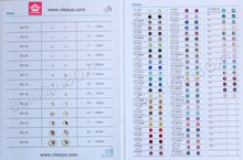 Blinginbox Color Chart for Rhinestone Over 60 colors for Hot