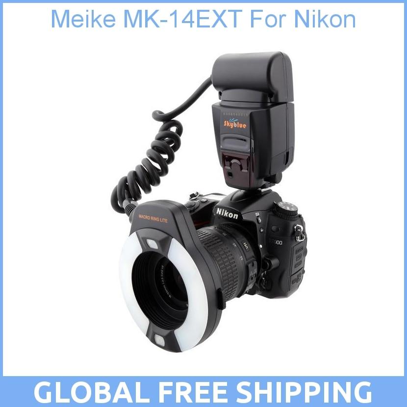 Meike MK-14EXT MK-14-EXT ITTL Macro TTL ring flash AF assist lamp For Nikon meke meike mk 14ext macro ttl ring flash for canon e ttl ttl with led af assist lamp