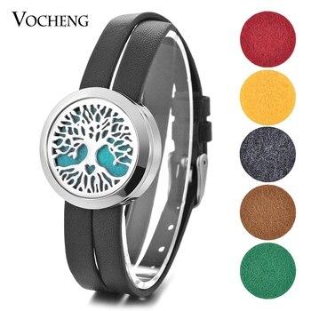 10pcs/lot Perfume Locket Leather Bracelet Double 316L Stainless Steel Magnet 30mm Flower Magnet Open without Felt Pad VA-449*10