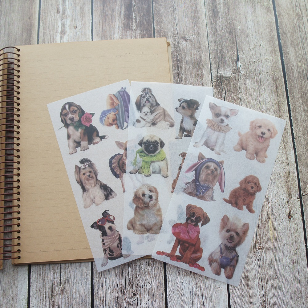 3 sheets Pet dog washi Paper sticker as Scrapbooking DIY gift packing Label Decoration Tag party
