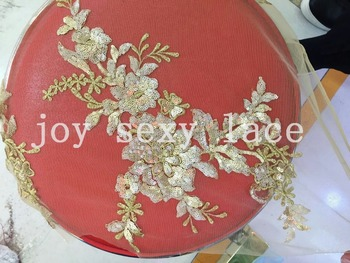 5yards LHT003 light gold sequin embroidery new tulle mesh lace fabric for wedding dress/evening dress,ship by dhl