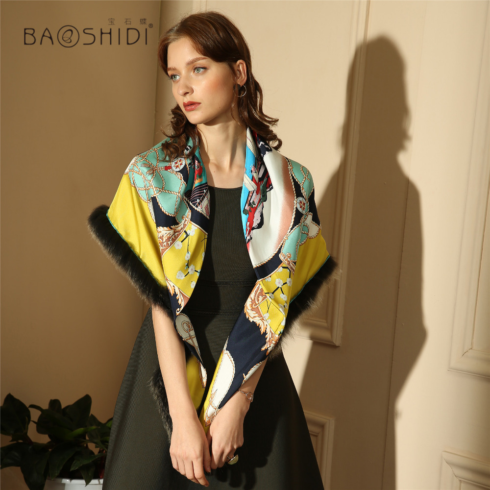 Manual made edge decorated with luxury tassel fur original design 100 silk twill women scarf Triangle