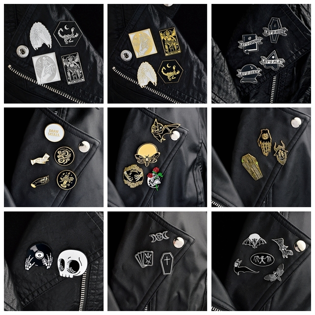 QIHE JEWELRY 2 ~ 5 шт./компл. гот булавки панк булавки броши для мужчин темно-нагрудные значки череп Devil Bat гроб Скелет готические украшения