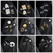 Biżuteria QIHE 2 ~ 5 sztuk/zestaw Goth pins Punk pins broszki dla mężczyzn ciemne przypinki na klapę czaszka diabeł Bat trumna szkielet gotycka biżuteria