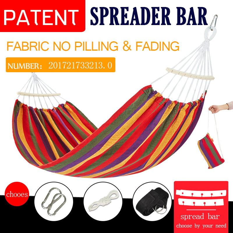 Upgrade Kit Hammock With Spreader Bar Outdoor Camping Sleeping Bed Garden Hanging Chair  Double 2person