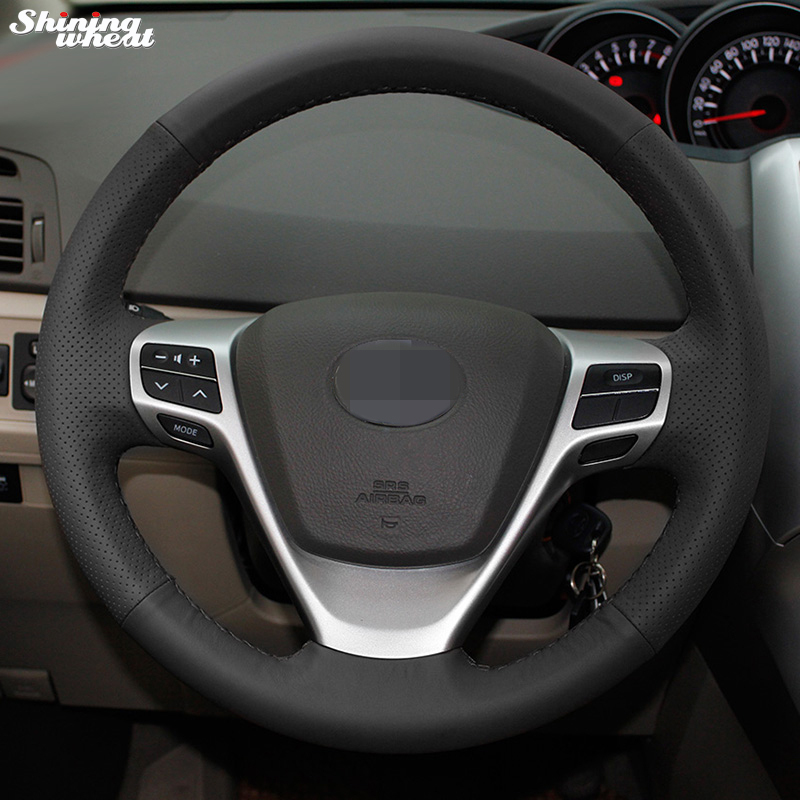 Shining wheat Hand-stitched Black Leather Steering Wheel Cover for Toyota Verso EZ Avensis