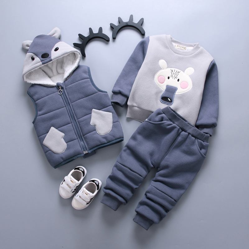 2018 Children Boys Girls Clothing Suits Autumn Winter Baby Hooded Vest T-shirt Pants 3Pcs/Sets Cartoon Kids Clothes Tracksuits autumn winter baby girls boys kids infants cartoon children thermal velvet jackets cardigan sweaters pants clothing sets s3901
