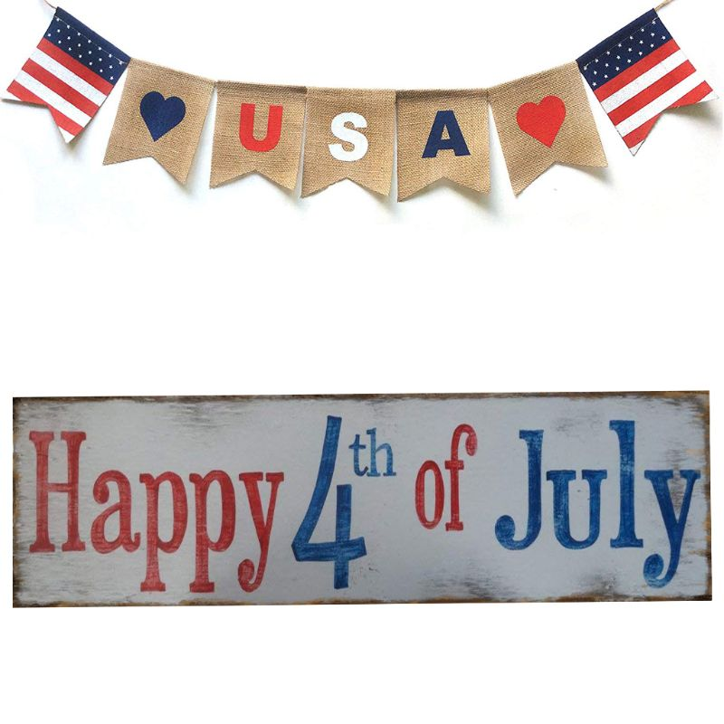 Image 2 - Rustic Wooden Happy 4th Of July Sign Plaque Independence Day Collection Gift Home Decoration-in Plaques & Signs from Home & Garden
