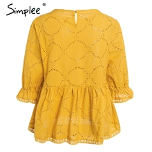 Simplee Cotton embroidery summer blouse women O neck hollow out sexy blusas peplum Ruffle half sleeve casual tops 2018