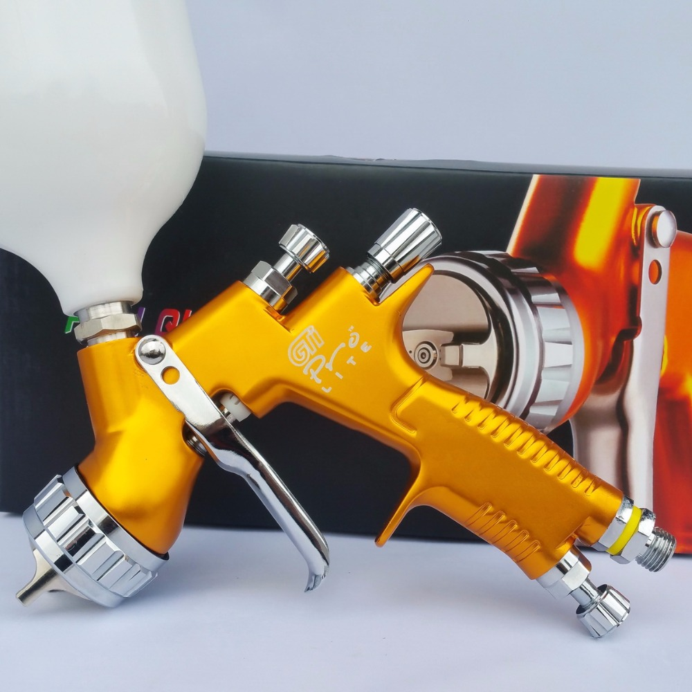 цена на Gti Pro lite golden painting gun T110 1.3mm nozzle paint spray gun water based air spray gun hvlp/paint sprayer/hvlp spray gun