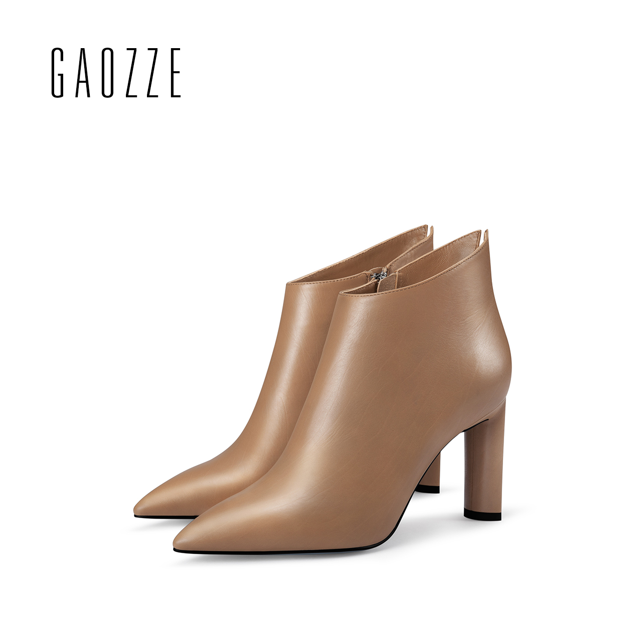 GAOZZE ankle boots for women winter 2017 new women leather boots female high-heeled ankle boots side zipper thick heel boots new arrival superstar genuine leather chelsea boots women round toe solid thick heel runway model nude zipper mid calf boots l63