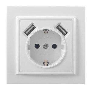 Image 1 - Podwójne usb portów i ściany elektryczne gniazdo usb darmowa wysyłka przejściówka do ładowarki ue socket5 V 2A, przełącznik zasilania stacja dokująca do ładowania EP 19
