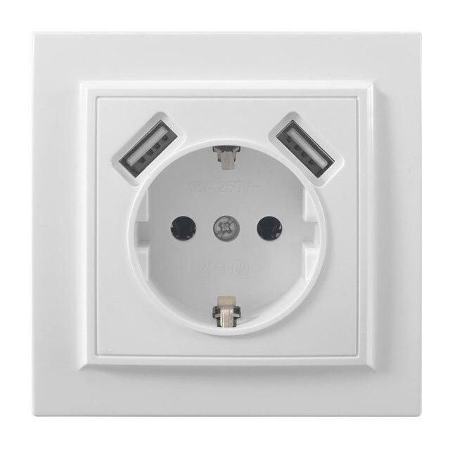 Podwójne usb portów i ściany elektryczne gniazdo usb darmowa wysyłka przejściówka do ładowarki ue socket5 V 2A, przełącznik zasilania stacja dokująca do ładowania EP 19