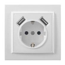 더블 usb 포트 및 전기 벽 usb 소켓 무료 배송 충전기 어댑터 eu socket5 v 2a, 스위치 전원 도크 충전 EP 19