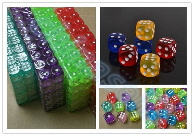 30pcs Transparent Poker Chips Dice 14mm Six Sided Spot Fun Board Game Dice D&D RPG Games Party Dice Gambling Game Dices