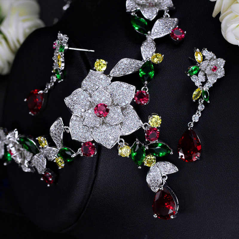 Pera Noble Bridal Wedding Jewelry Accessories Big Heavy Flower Pendant Cubic Zirconia Necklace And Earrings Set For Brides J247