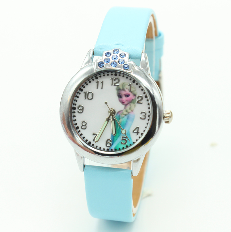 2017 New Princess Elsa Anna children cartoon children watch Snow Queen Leather Quartz watches Fashion Girl student clock watch 2016 new relojes cartoon children watch princess elsa anna watches fashion kids cute relogio leather quartz wristwatch girl gift