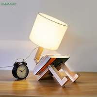 Modern minimalist table lamp cartoon cute warm folding small desk lamp solid wood bedroom bedside lamp LED light