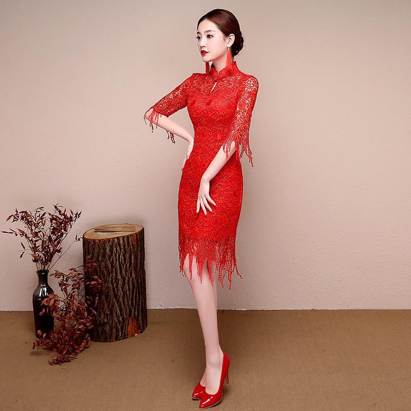 Rojo Encaje vestido tradicional chino boda moderna qipao cheongsam ...