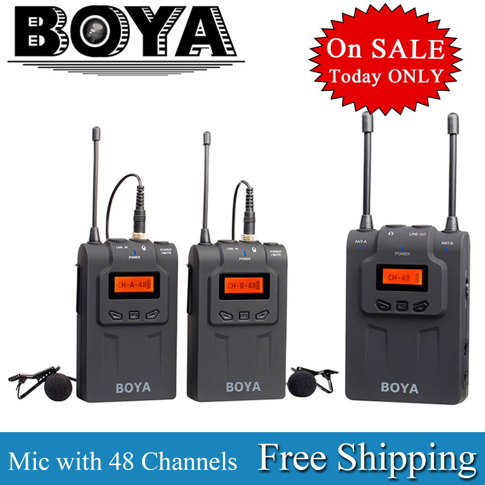 цены  BOYA UHF Wireless Lavalier Microphone Recorder System for Video Interview Broadcast Mic Canon Nikon DSLR Camera Sony Camcorder
