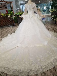 Image 4 - HTL046 International new design wedding dresses with peplum o neck long sleeves ball gown sukienka na wesele dla gościa