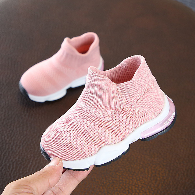 New Soft Baby Shoes Fashion Socks Shoes Boys Sneakers Pink Girls Shoes Infant Knitting Toddler Shoes High Top Ankle Flats 15-19#