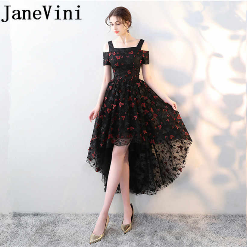 JaneVini High Low Long Bridesmaid Dresses Chic 3D Butterfly Lace-up Back  Wedding Party Gowns d07814675817