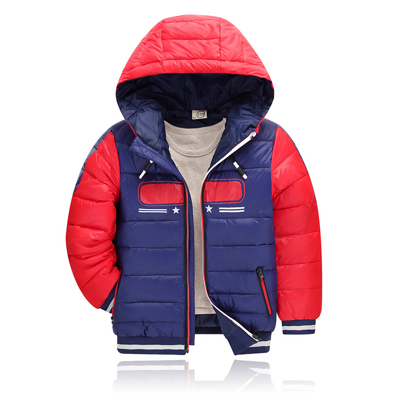 Patchwork Hooded Fashion Big Girl Winter Warm Coat Boys Outerwear Print Feather Cotton Down Thickening Coat for 4-10T Kid Retail retro european pastoral style lantern kerosene wall lamps e27 lights sconce for restaurant bar bathroom bedside bedroom hallway