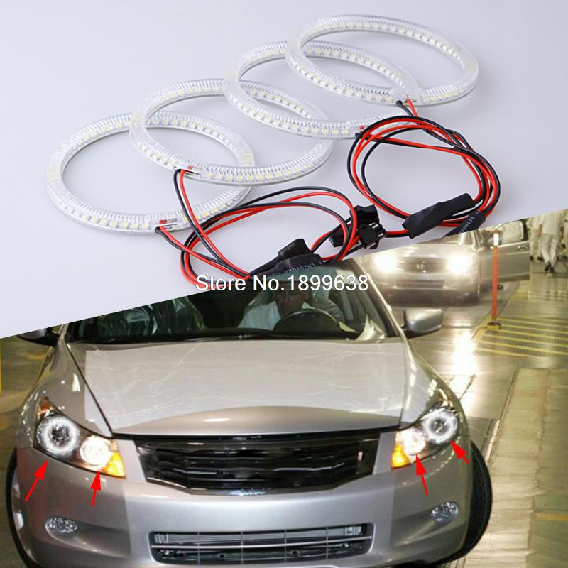 4pcs Super bright 7000K white 3528 smd led angel eyes halo rings car styling For Honda Accord 2008 ogio ladies jewel polo xl bright white page 4