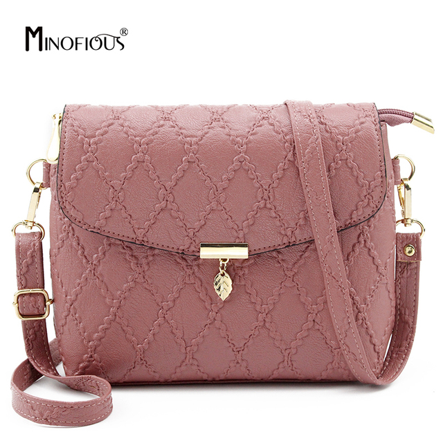 085caa226c92 MINOFIOUS Small Women Diamond Lattice Messenger Bag Fashion Casual PU  Leather Shoulder Bags Solid Clutch Crossbody Mini Bag