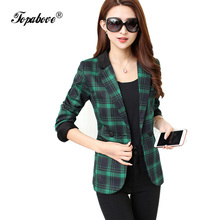 2016 new Long sleeve Shrug Women red Blazers stripes plaid ladies blazers jackets Suit Jackets women's blazers and suit jackets