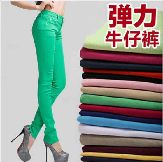 Women Sexy Candy Color Pencil Pants/Casual pants/Skinny Pants With Solid Cotton Summer Trousers Fit Lady jeans Free Shipping new full color candy cotton pants korean women thin elastic jeans pencil pants woman s slim skinny sexy trousers size 25 31