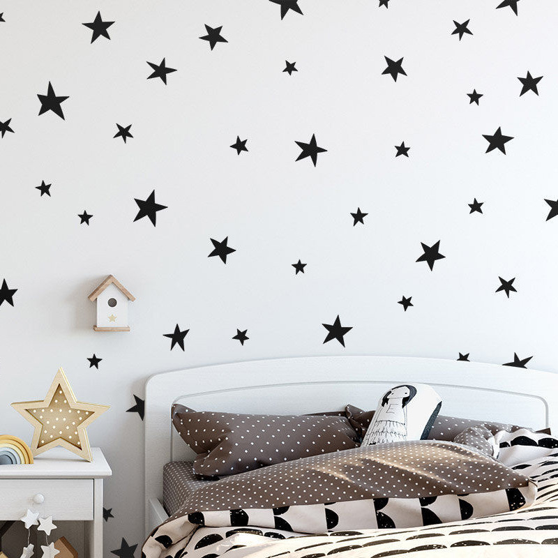 45 / 24st Cartoon Starry Wall Stickers For Kids Rooms Heminredning Little Stars Vinyl Väggdekor Baby Nursery Art Väggdekor
