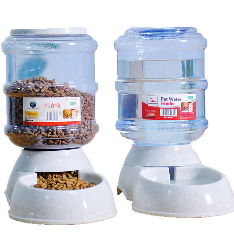 3.5L Automatic Pet Feeder Drinking Fountain For Cats Dogs Plastic Dog <font><b>Food</b></font> Bowl Pets <font><b>Water</b></font> Dispenser PF002 dog feeder pet feeder