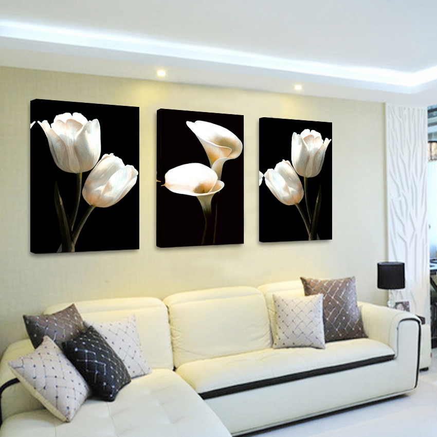 Oil painting cuadros magnolia flower 3 piece wall for Living room 12x16