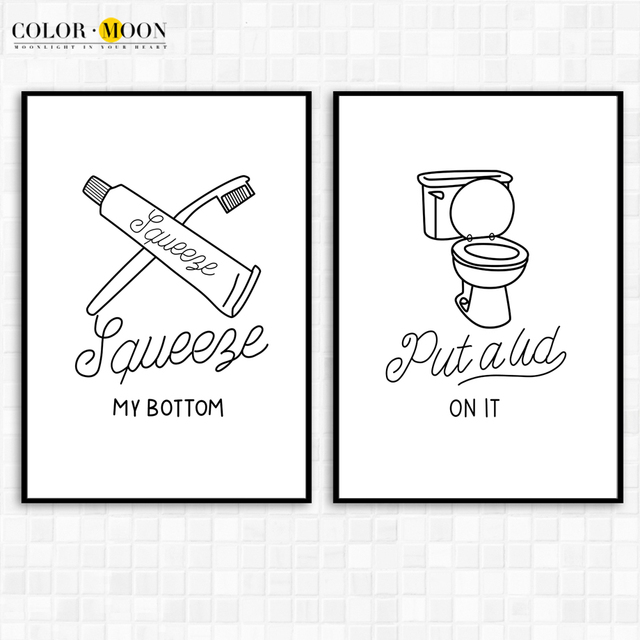 Minimalism Toilet Paper Wall Art Print Canvas Painting Modern Poster Black White Bathroom Home