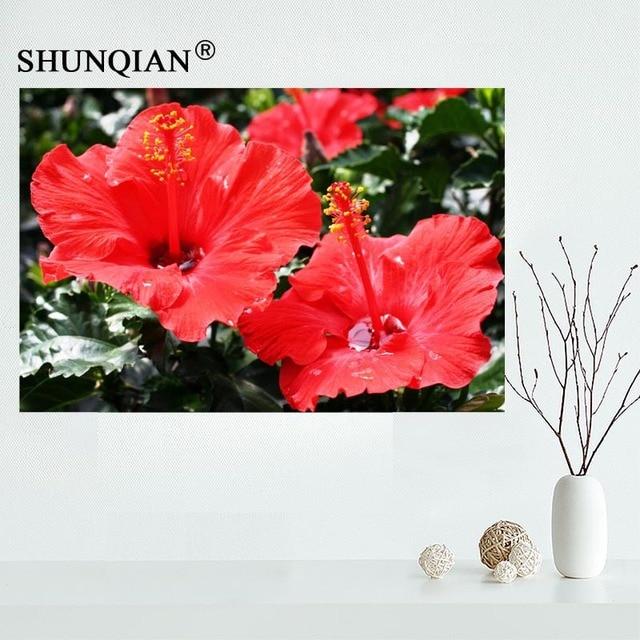 Custom Hibiscus rosa sinensis Canvas Painting Poster Cloth Fabric ...