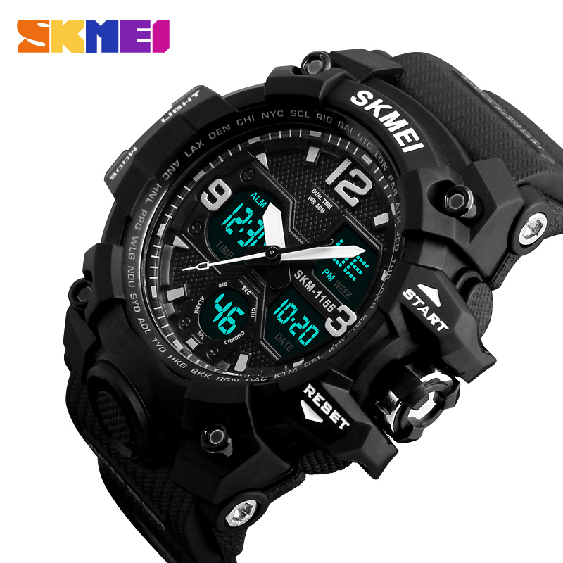 SKMEI Muži Sportovní hodinky Módní Quartz Dual Display 2 Time 12/24 Hodiny hodinky Hodinky Vodotěsné Top značky Náramkové hodinky 1155B