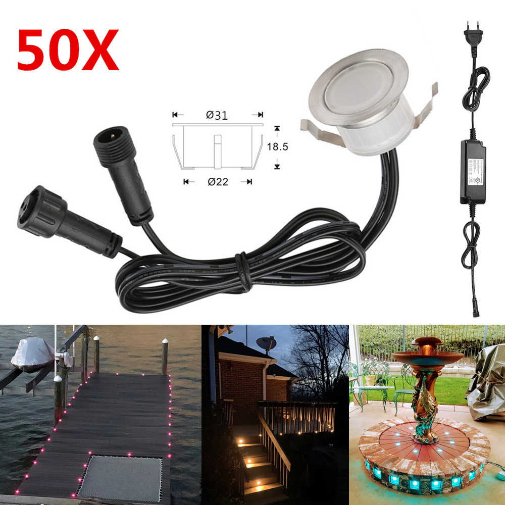 50pcs/lot 31mm LED Decking Stair Step Light Garden Yard Patio Terrace Waterproof Lanscape Inground Paver Lighting Spot 12V IP67
