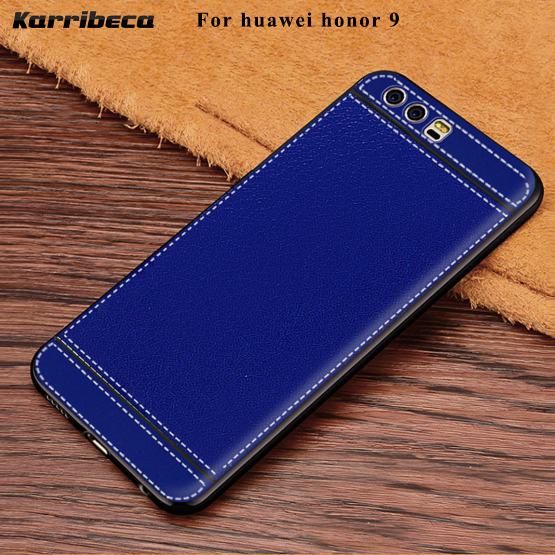 Θήκη σιλικόνης Litchi Cortex για Huawei Honor 9 Fundas Hoesje Lychee Leather Matte Soft TPU Cover Honor 9 Coque Etui Kryt Tok
