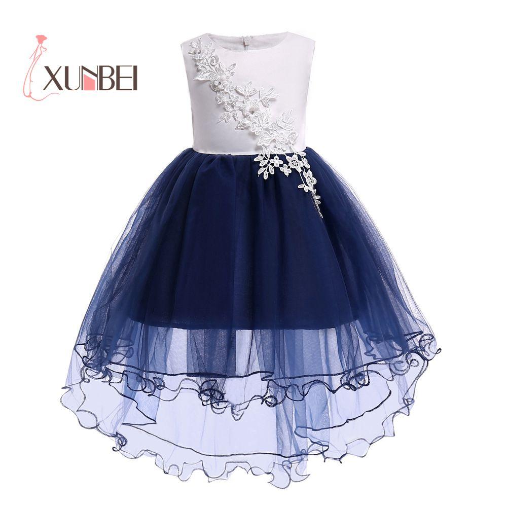 Lovely Knee Length Hi-low Navy Flower Girl Dresses 2019 Applique Flower Kids Pageant Dresses Girls Communion Dresses