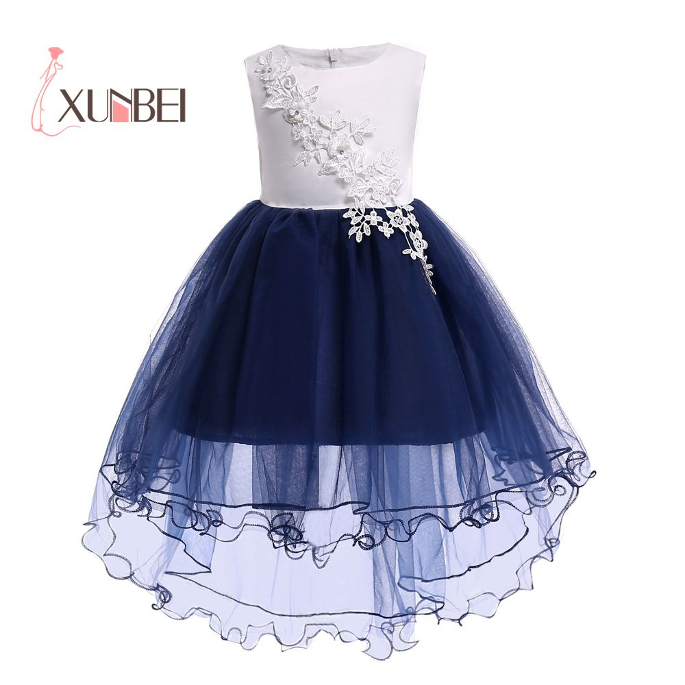 Lovely Knee Length Hi-low Navy   Flower     Girl     Dresses   2019 Applique   Flower   Kids Pageant   Dresses     Girls   Communion   Dresses